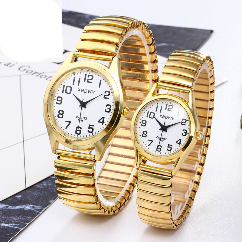 New Fashion Elastic Belt Men's And Women's Casual Simple Watches Steel Belt Couple Quartz Watch