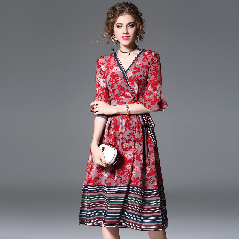High quality 2018 NEW spring summer printed silk dress cross V-neck half sleeve defined waist a word women vestidos
