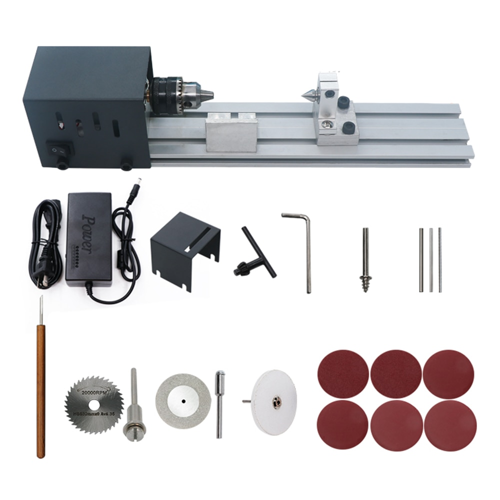 80W 24V DC Mini Lathe Beads Polisher Machine Woodworking Craft DIY Rotary Tool Set Standard Grinding Set CNC Machining alibaba in china metal tool set cnc machining maker