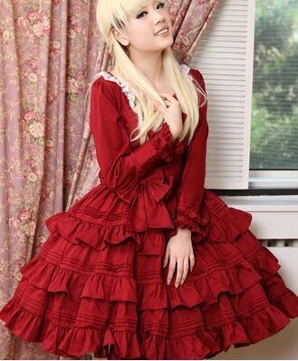 Élégante femme dames Cosplay Lolita rouge rose robe Lolita