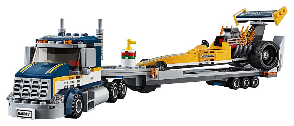 CHINA BRAND 02025  bricks Toys  DIY Building Blocks Compatible with Lego City Great Vehicles Dragster Transporter 60151 lepin 02025 city the high speed racer transporter 60151 building blocks policeman toys for children compatible with lego