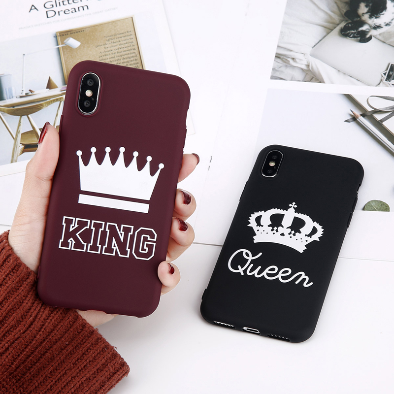 Lovebay Phone Case For iPhone 6 6s 7 8 Plus X Phone Case Fashion Cute Cartoon Crown Letter KING Queen Soft TPU For iPhone 7 Case