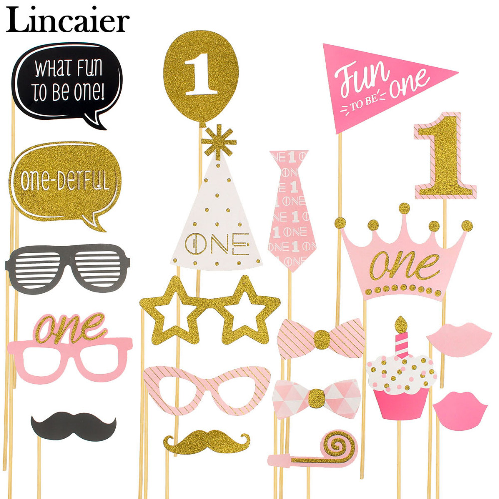 Lincaier 1st Birthday Party Decorations Photo Booth Props I AM ONE Photobooth First Year Baby Boy Girl Fun Supplies