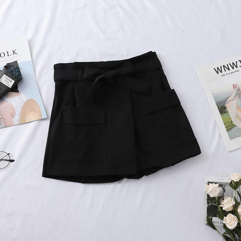 Heliar 2019 Musim Semi Celana Pendek Wanita Tinggi Pinggang Kasual Ikatan Simpul Pendek Lebar Kaki Wanita Celana Pendek Longgar Lembut Kapas Kasual Pendek