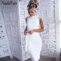 Nadafair White Lace Summer Dress Sleeveless Turtleneck Casual Elegant Party Dress