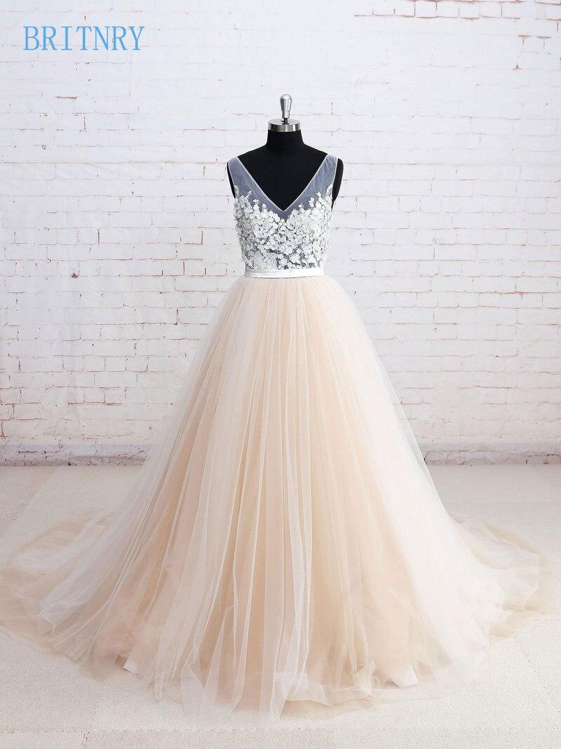 BRITNRY Sexy Illusion Beach Wedding Dress Lace V Neck ...