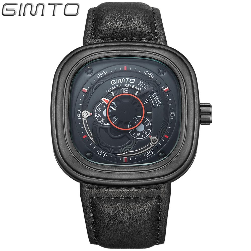 Prix pour 2017 Militaire Carré Unique Hommes Montres Bracelet En Cuir d'affaires montres Grand Cadran Quartz Sport Montre-Bracelet des Hommes horloge Montre Homme