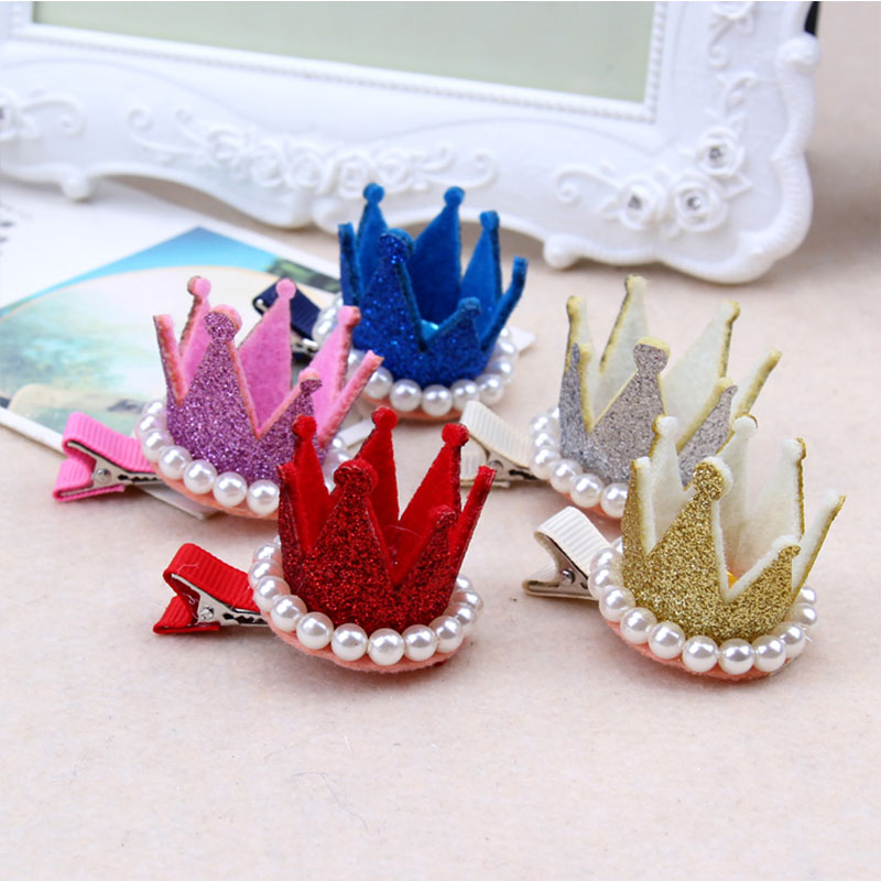 1PC New Cute Crown Pearl Crystal Hair Clip Little Girls Birthday Party Gifts Hairpin For Princess Kids Headband Hair Accessories han edition hair pearl four petals small clip hairpin edge clip a word free home delivery