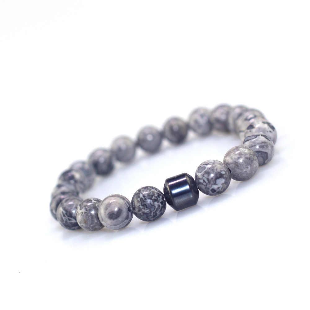 Prosty kamień naturalny bransoletka buddyjska z koralików Charms hematyt tygrysie oczy koraliki z lawy wulkanicznej bransoletka dla mężczyzn biżuteria ręczna Pulseira