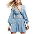Fashion Hollow Out Lace Patchwork Mini Dress Back Button Deep V-Neck Lantern Sleeve Women Cozy Casual Vestidos 3 Color Q17-02-02