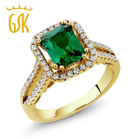 2 78 Ct Emerald Cut Green Simulated Emerald 18K Yellow Gold Plated Silver Ring
