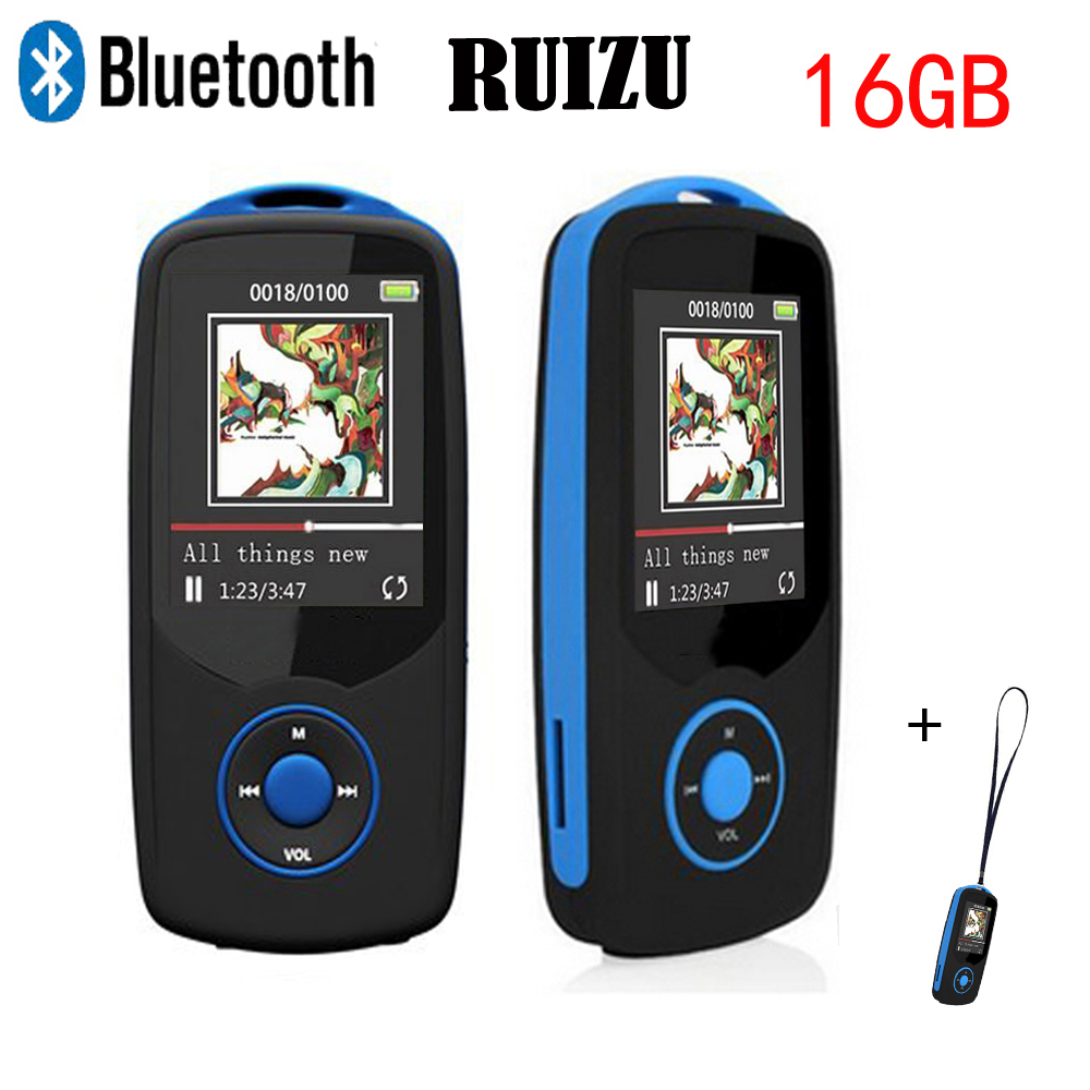 Original RUIZU Mp3 reproductor con Bluetooth 4,0 16 GB deporte Digital sonido MP3 música reproductor de vídeo Radio FM Lanyard regalo X06