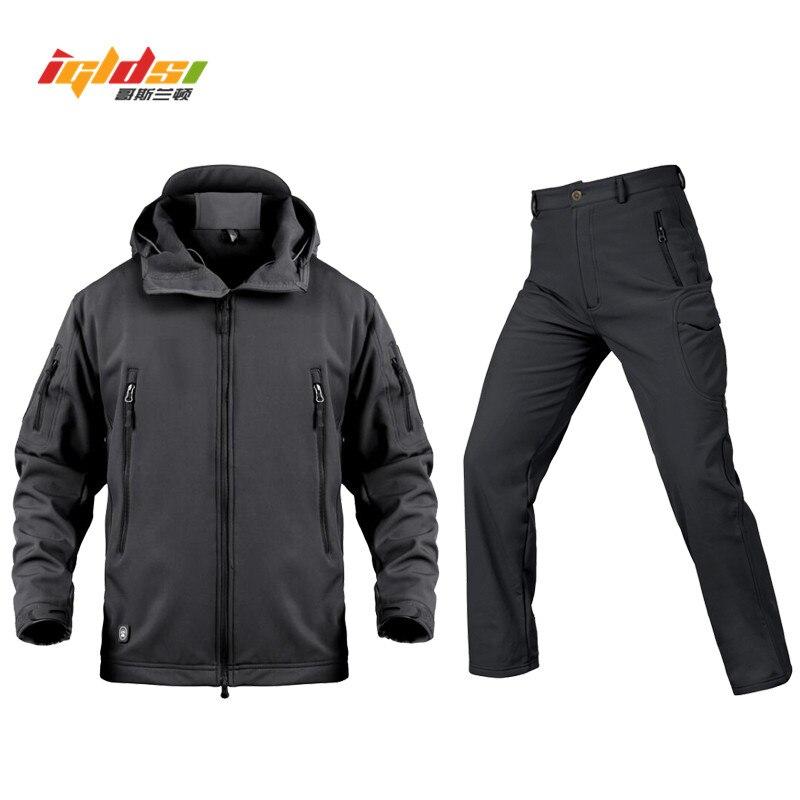 Erkek Kıyafeti'ten Erkek Setleri'de Erkekler Taktik Askeri üniforma ceket ve Pantolon Su Geçirmez Ordu Savaş Üniforma Taktik Pantolon erkek Kamuflaj Avı Ceket XS 3XL'da  Grup 1