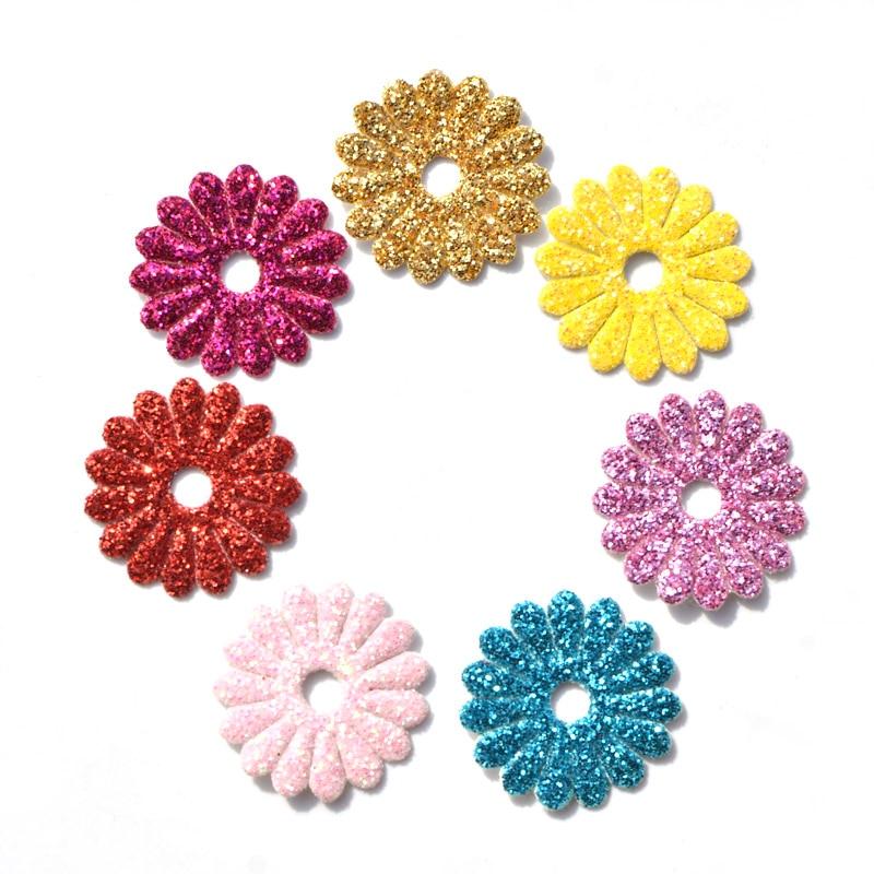 40 шт./лот смешанные блеск кожи весна цветок ромашка Ткань Нашивки Фетр аппликация для Craft/одежды DIY Скрапбукинг K23