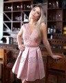 Nueva Llegada Elegante Del Amor Corto Mini Vestidos de Cóctel de Satén de Encaje Sin Espalda Vestido de Coctel Por Encargo