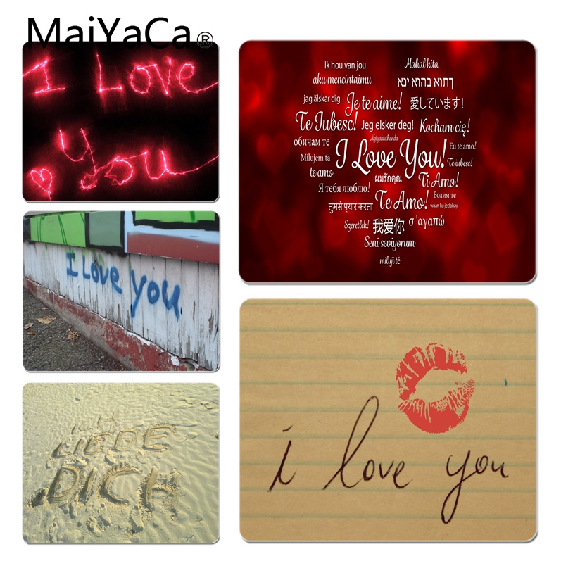 MaiYaCa Simple Design I Love You Background Customized laptop Gaming mouse pad Size for 18x22cm 25x29cm Small Mousepad