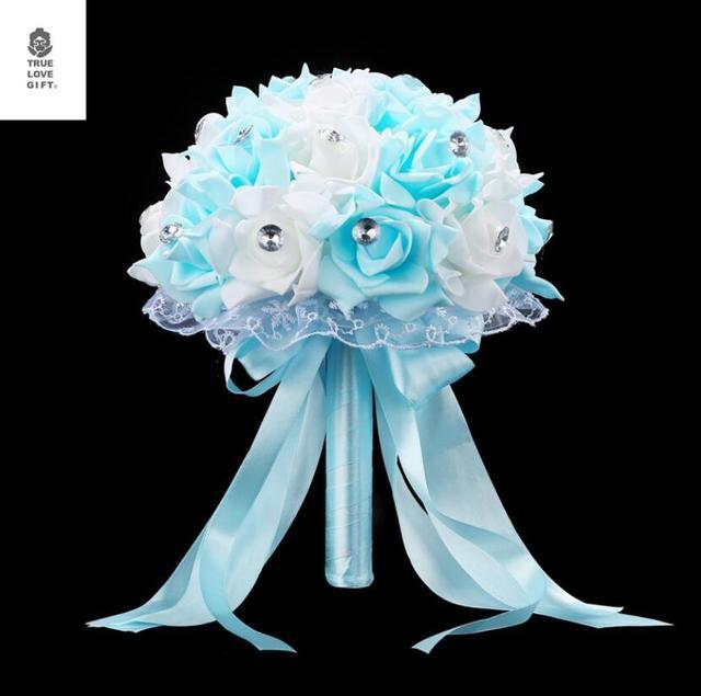6 цветов букет горячая Распродажа искусственные пенные цветы Пена розы для женщин свадебные Композиции Свадебные букеты AA133
