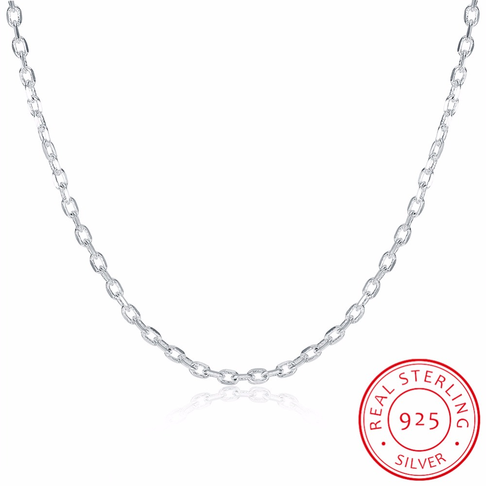 LEKANI Womans Fine Jewelry 925 Sterling Silver Flat ROLO Chain Necklace Charm 2MM Wide Silver Necklace 1618 20 22 24LEKANI Womans Fine Jewelry 925 Sterling Silver Flat ROLO Chain Necklace Charm 2MM Wide Silver Necklace 1618 20 22 24