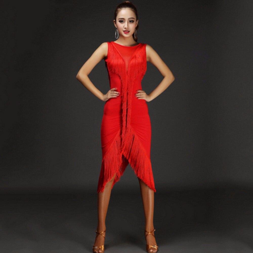 Секс Для женщин леди Костюмы для латиноамериканских танцев платье для танцев кисточкой 4 Цвета Vestidos infantis ча-ча платье для танцев Samba костюм т...