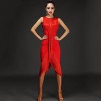 Latin Dance Dress Women Tassel V Type Mesh Dance Wear Whole Body Tassel Line Salsa Fringe Dress Latina 2pcs Dress&Shorts DQ3185