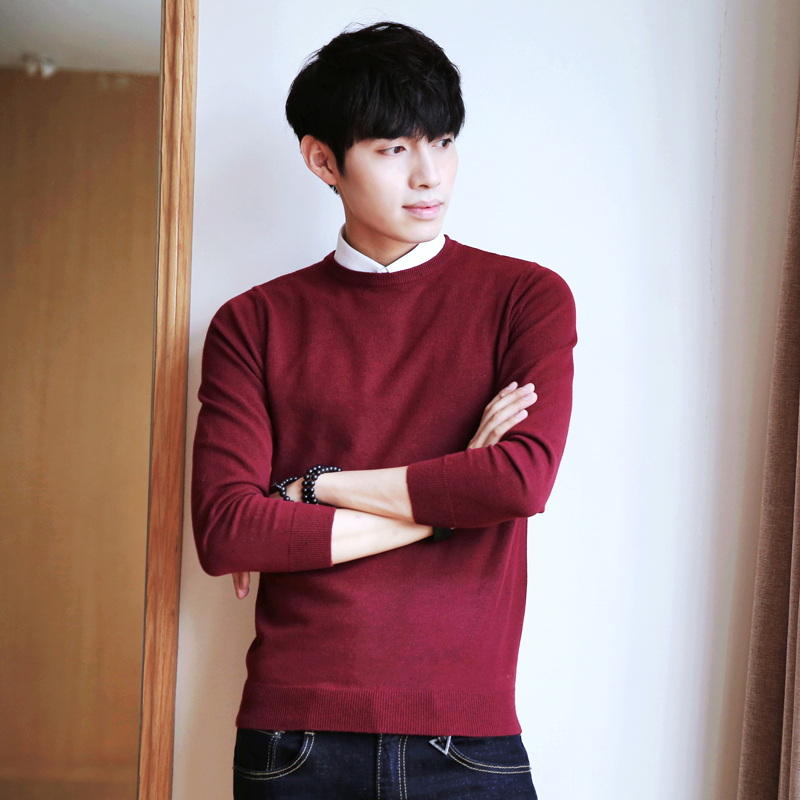 Nisexper New Arrival Mens Sweaters New Autumn Men Knitted Solid Color Round Neck Mens Sweater Fashion Pullovers