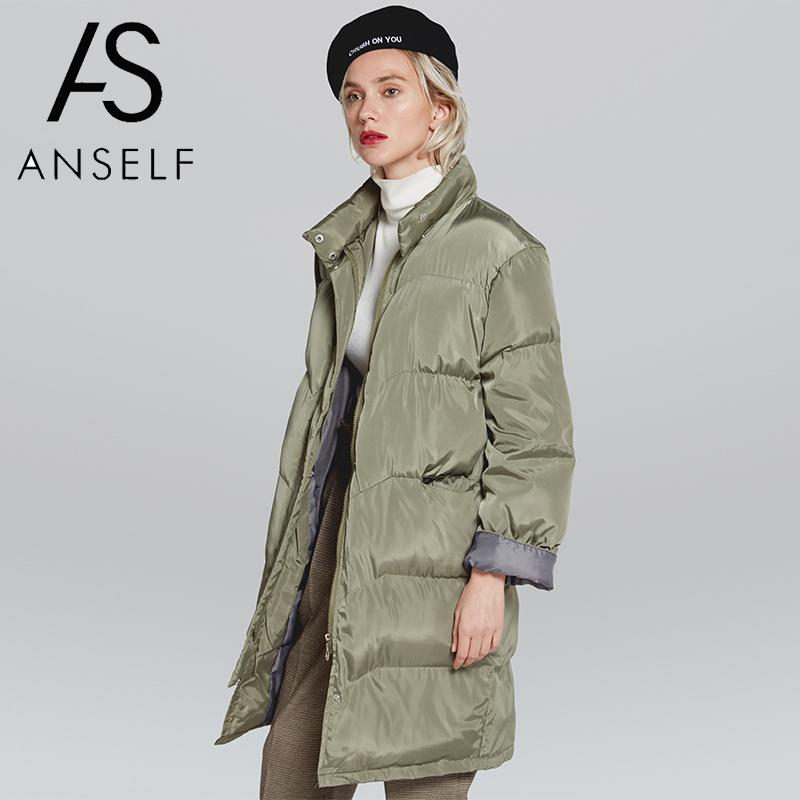 2019 Autumn Winter Coat Women Jacket Quilted Thick   Parka   Coat Cotton Padded High Neck Solid Long Outerwear Overcoat female tunic