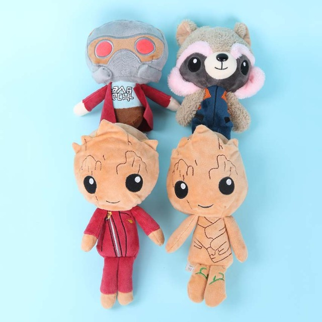 4pcs Lot Star Lord Plush Toy Baby Tree Man In Jumpsuit Rocket Animal