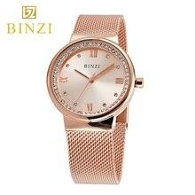 Mujeres del reloj 2018 BINZI Relojes de Marca Para Mujer Reloj de Acero Pulsera de Cuarzo Reloj de Señoras De Moda de Lujo relogio feminino Oro