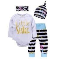 Newborn Baby Girl Clothes Long Sleeve Cotton Romper Long Pants Hat Headband 4PCS Set Outfits Clothing