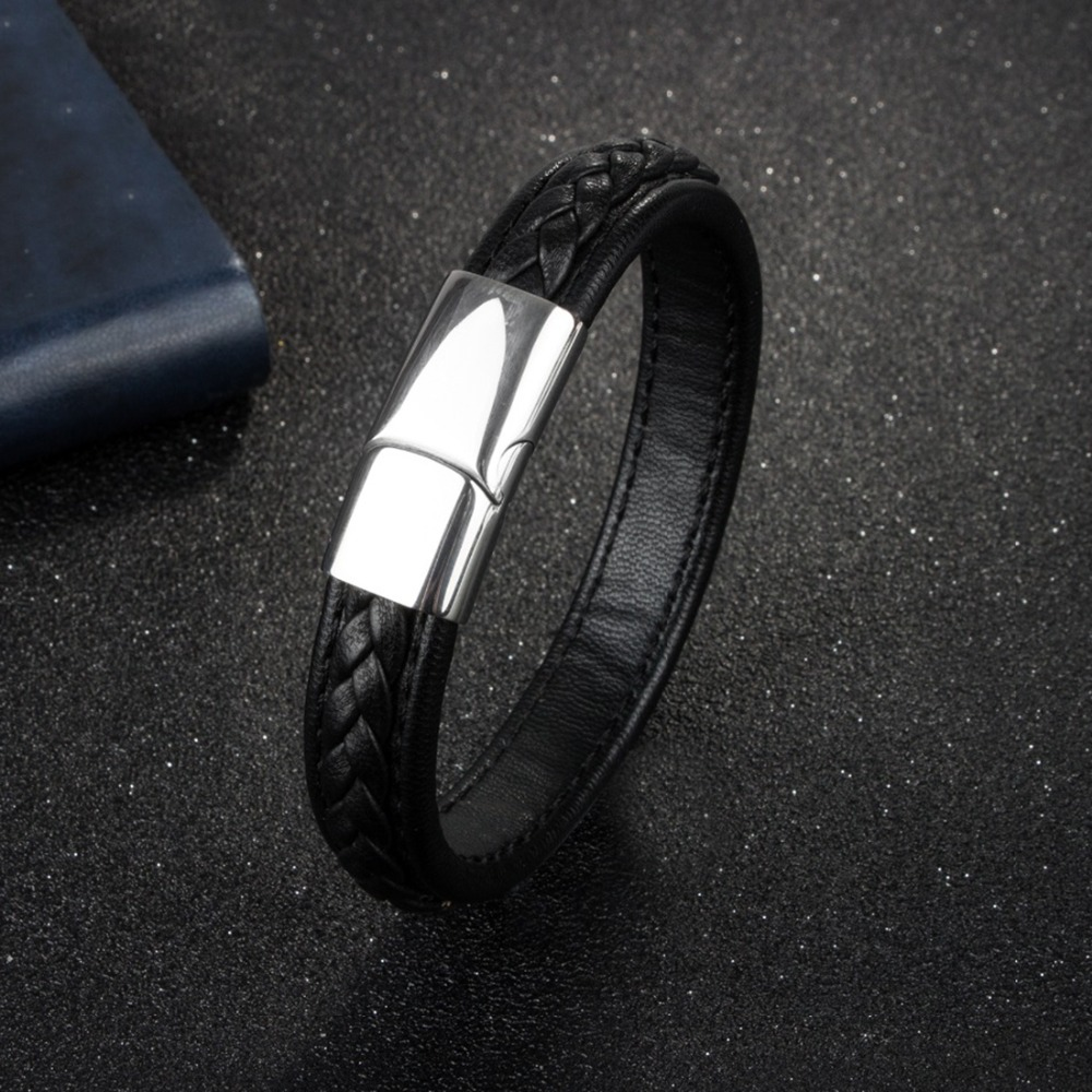 OBSEDE Fashion Men Leather Bracelets Black/Brown Color Wristband& Bangles for Men Jewelry Stainless Steel Buckle Clasp Punk Gift