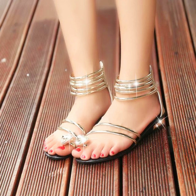 gold gladiator heels silver wedges scarpe donna flat sandals with rhinestones  wedge heel women sandalia gladiadora sandalias af398bf15247
