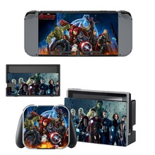 The Avengers Iron Man Hulk Decal Vinyl Skin Sticker for Nintendo Switch NS Console + Controller Stand Holder Protective