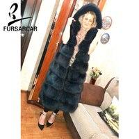 FURSARCAR Female Fur Plus Size Jacket Women Winter Casual Thick Fur Fox With Hood Navy Blue Solid Real Fur Fox Coat Luxury