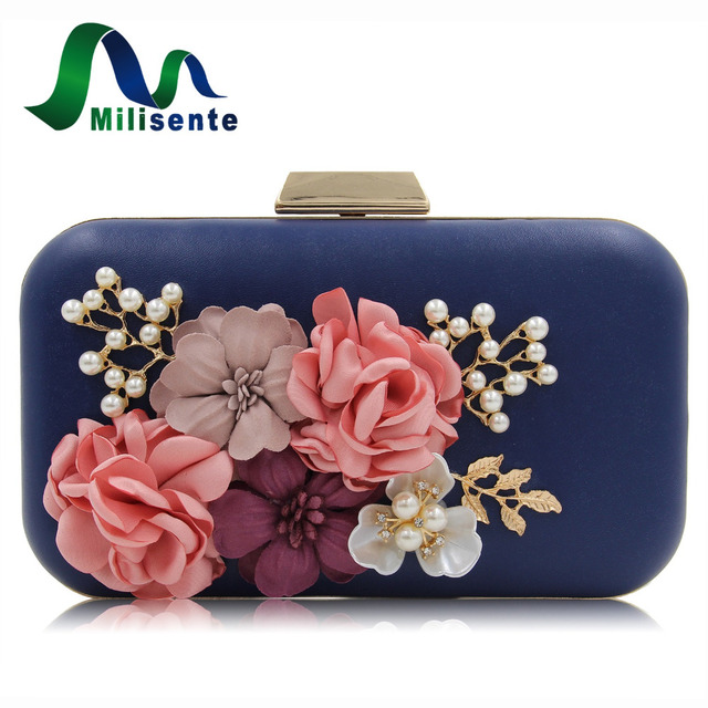 Milisente Brand Women Flower Wedding Party Clutch Purse Ladies Evening Bag Royal Blue Day Clutches With Pearl Chain