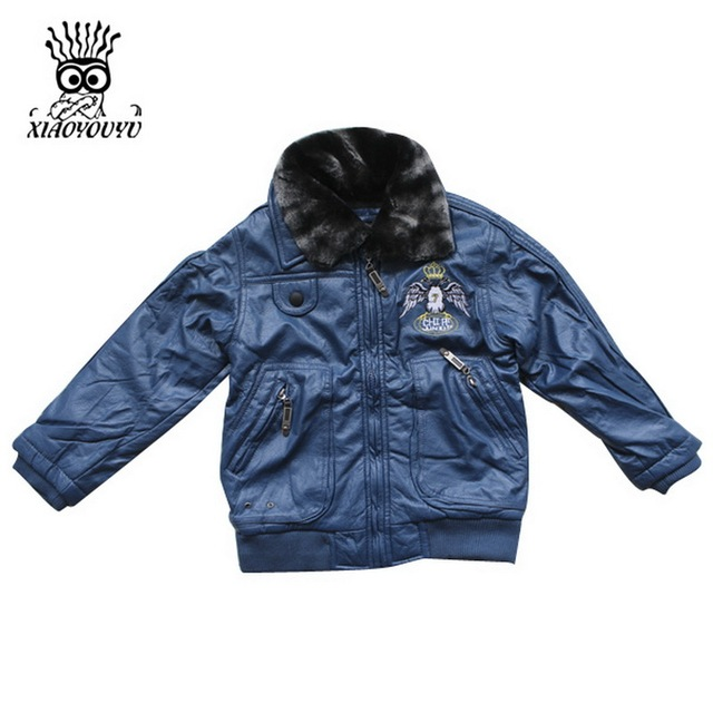 21c800b59 XIAOYOUYU Fur Collar Winter Boys Coats Dark Blue   Green Size 110 ...