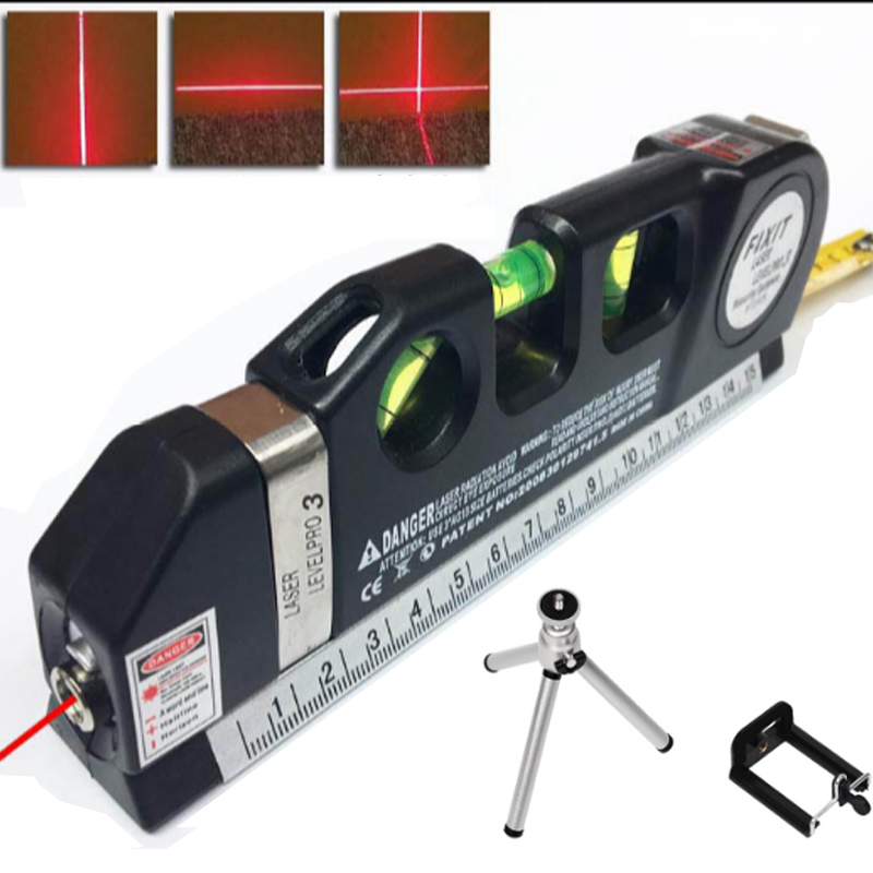 4 in 1 Accurate Multipurpose Laser Level Lever with tripod Cross Projects Horizontal Vertical Laser Light Beam Measure Tape elecall em5416 200 high quality multipurpose level with bubble laser horizon vertical measure tape the horizontal ruler