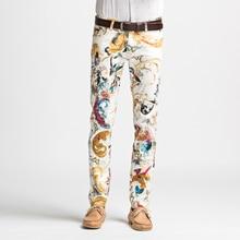 new fasion printing  men jeans spring summer slim elastic prom casual pants painted flowers star singer dancer nightclub prom