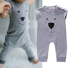 Toddler Newborn Baby Girls Boys Cute Cartoon Romper Gray Playsuit Jumpsuit 1PCS Outfits Clothes