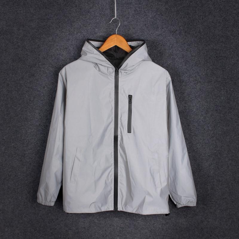 Plus Size 4XL Men Spring Autumn full reflective Windbreaker waterproof Jacket male High street hip hop Loose Hooded Coats 4