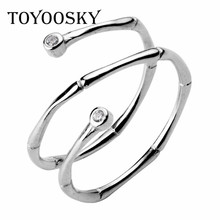 TOYOOSKY 925 Sterling Silver Ring Bamboo Texture Double Spiral Rhinestone Opening Ring For Diameter 16mm 17mm Jewelry Fashion