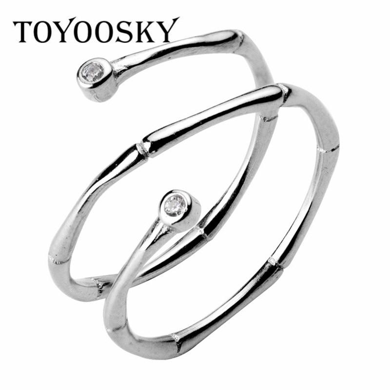 TOYOOSKY 925 Sterling Silver Ring Bambus Texture Double spiralno nosorogovo odpiranje prstan za premer 16mm 17mm nakit moda
