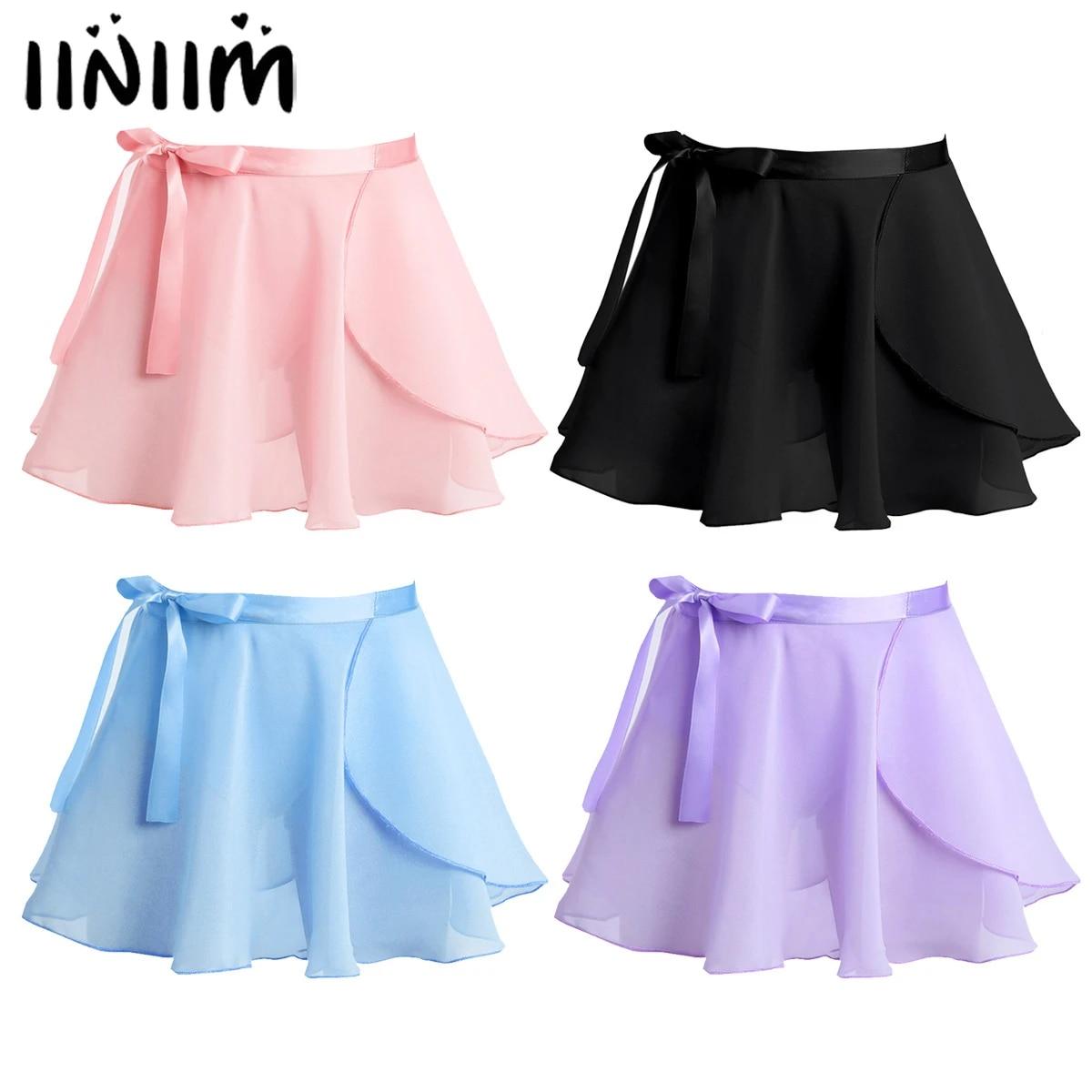 winying Girls Chiffon Elastic Waist Ribbons Full Circle Skirt Dancewear Daily Wear
