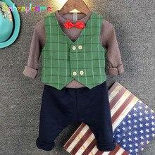 babzapleume Spring Autumn Korean Kids Clothes T-shirt+Vest+Pants Gentleman Baby Boys Suits Children Clothing Sets 2Piece BC1266