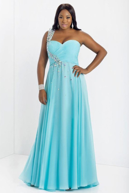 d3763ce2e32 Long Chiffon Big Size Women Evening Gown Beading Stones Plus Size Blue Prom  Dress With One
