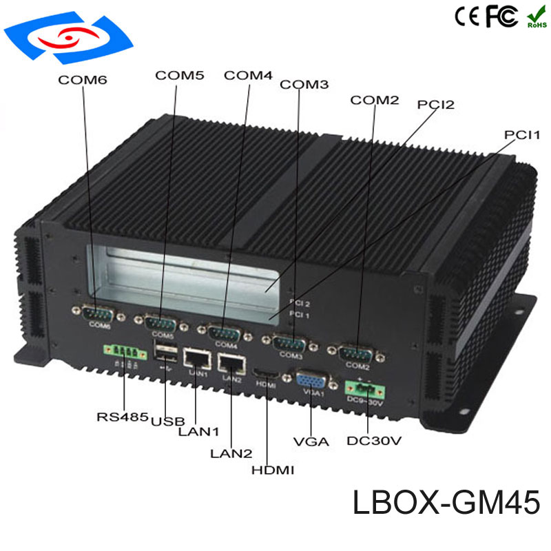 Fanless Barebone Mini PC Intel Pentium P8600 Windows 10 Rugged ITX Case Embedded Industrial Computer 2LAN HDMI 6*COM