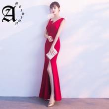 Elegant sexy personality slant shoulder slim slit Evening Dress Long Ladies 2019 Sleeveless Mermaid Dresses for Party