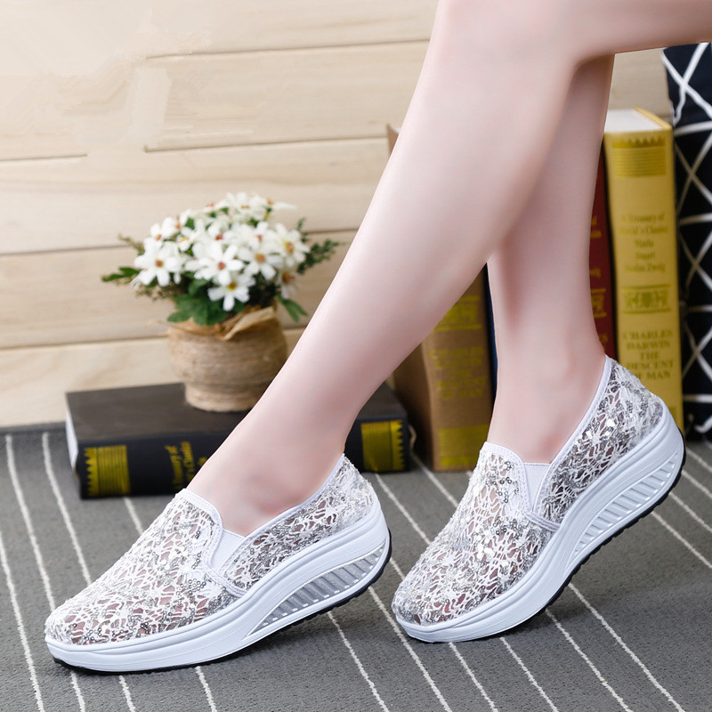 QIYHONG 2018 Sommer Frauen Flache Plattform Schuhe Frau Komfortable - Damenschuhe - Foto 5