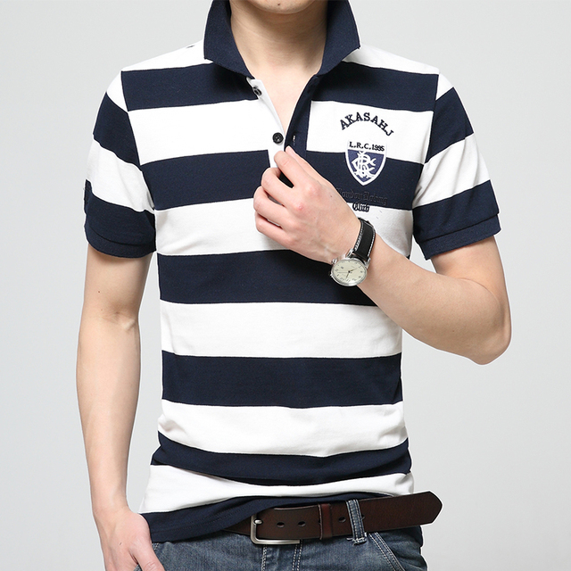 f3529b57 US $18.32 20% OFF|Summer Short Sleeve Polo Shirt Male Turn Down Collar Slim  100% Cotton Thin Stripe Polo Shirt Leisure Polo Ralphmen-in Polo from ...