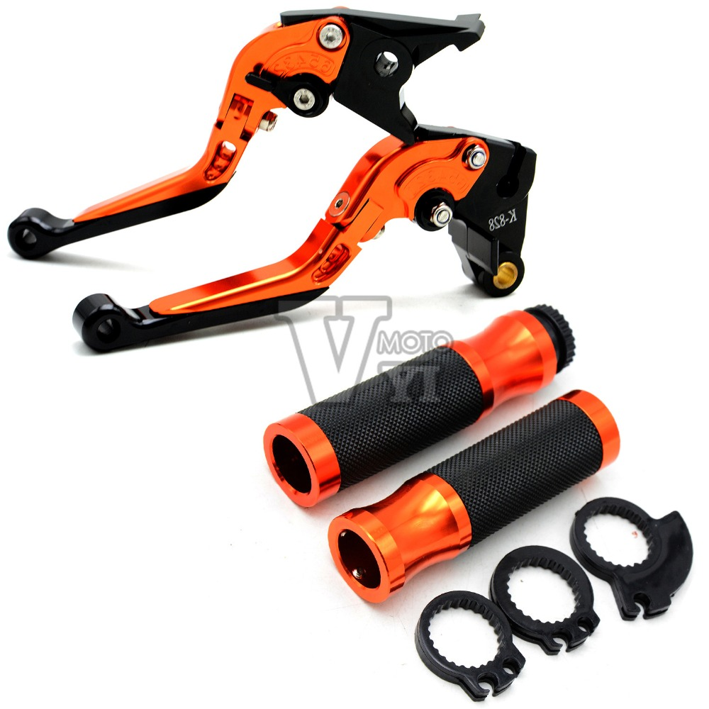 22mm motorcycle brake clutch levers rear brake pedal step tips handlebar grips for KTM DUKE 390 200 125 RC 390 200 125 orange for 2012 2015 ktm 125 200 390 duke motorcycle rear passenger seat cover cowl 11 12 13 14 15