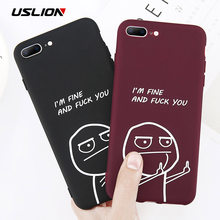 USLION Funny Letter Phone Case For iPhone 8 7 Plus X XS Max XR Middle Finger Emoji TPU Silicone Cover For iPhone 6 6s Plus Cases(China)